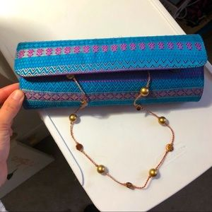 NWOT Blue and Purple Clutch